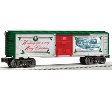 0 Boxcar - 3-Rail - Ready to Run -- Lionel Christmas Car (green silver, red)