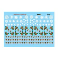 H0 Railroad Decal Set -- Christmas Train Graphics Holly & Snowflakes