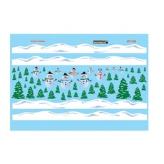 H0 Railroad Decal Set -- Christmas Train Graphics Snowman Scenes