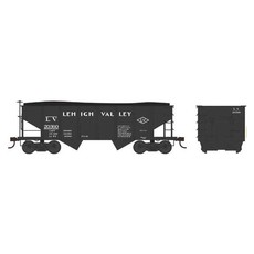 H0 PRR Class GLa 2-Bay Open Hopper - Ready to Run -- Lehigh Valley 20402 (black, Diamond Logo)