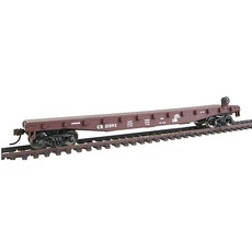 H0 50\' Flatcar with Metal Wheels Ready to Run - CR