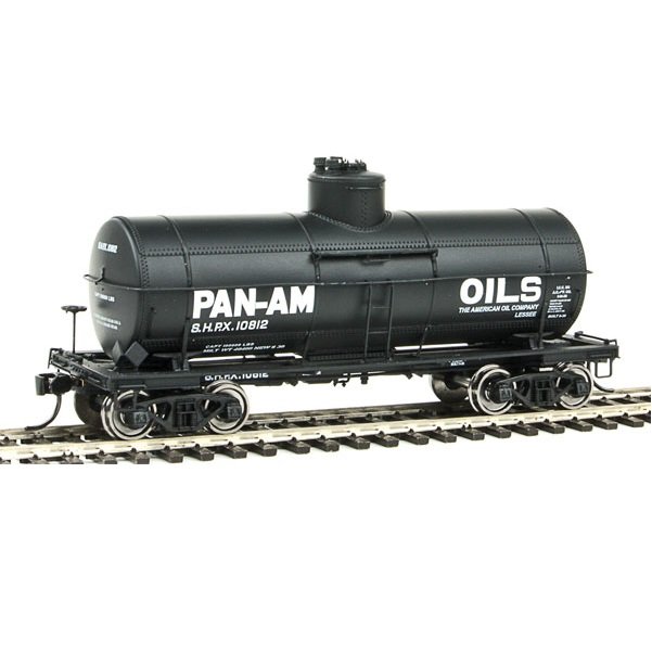 H0 Type 21 ACF 10,000-Gallon Tank Car - Ready To Run -- Pan-Am Oils SHPX #10812 (black, white)